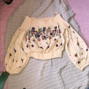 Free people cropped floral embroidered top